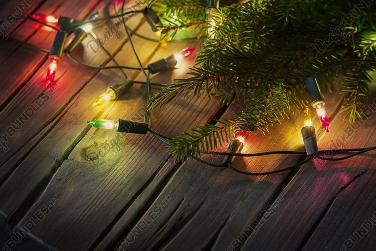 Christmas card with lights and vintage background example image 1