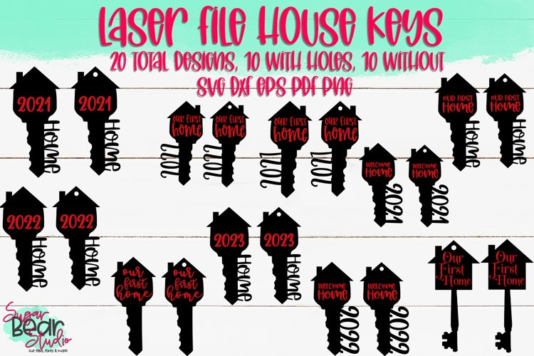 House Keys Bundle - A Laser Cutting File Bundle of 20 Files example image 1