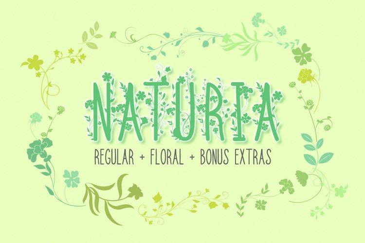 Floral Font | Flowers Font | Naturia - Thin Font with Bonus example image 1
