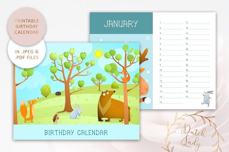Printable Birthday Calendar #4 - JPEG & PDF Files