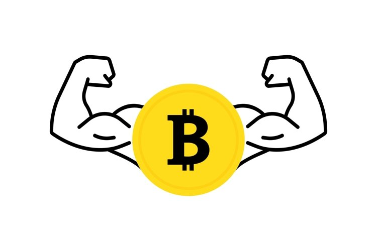 Dollar coin icon with flexing, strong muscles. Vector flat example image 1