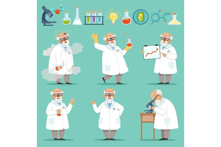 Scientist or chemist at his work. Different accessories in s example image 1