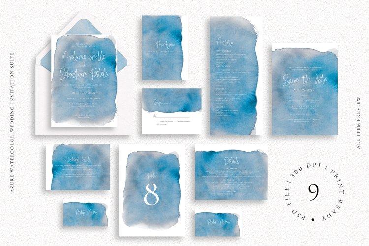 Azure Watercolor Wedding Invitation Suite example image 1