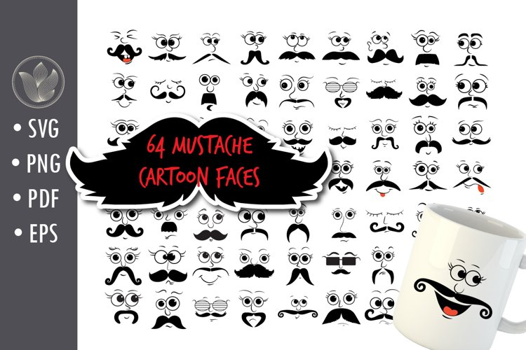 Mustache Cartoon Faces sg cut files, Mustache Characters