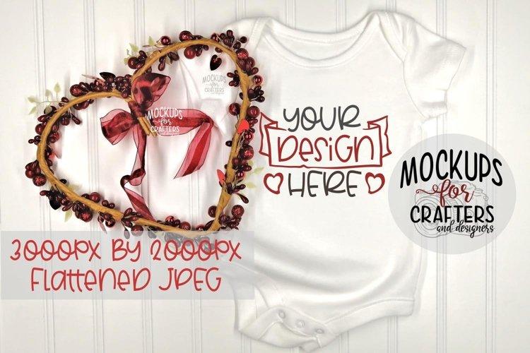 Baby Bodysuit Mock-Up, Valentine, Love, example image 1