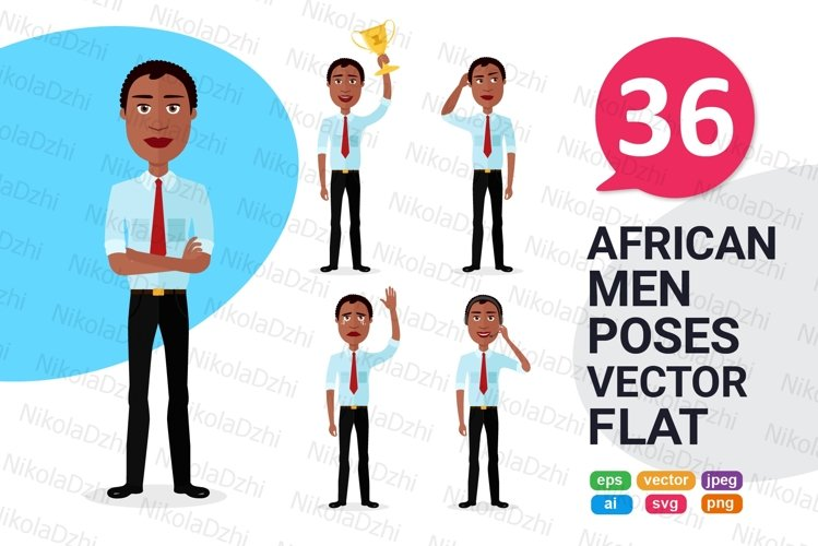 African men Character people Cartoon vector collection flat example image 1