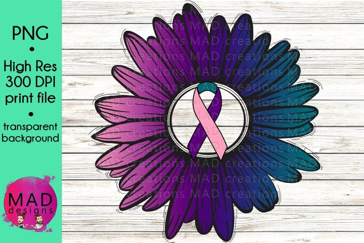 Thyroid Cancer Awareness - Rustic Sunflower Ribbon