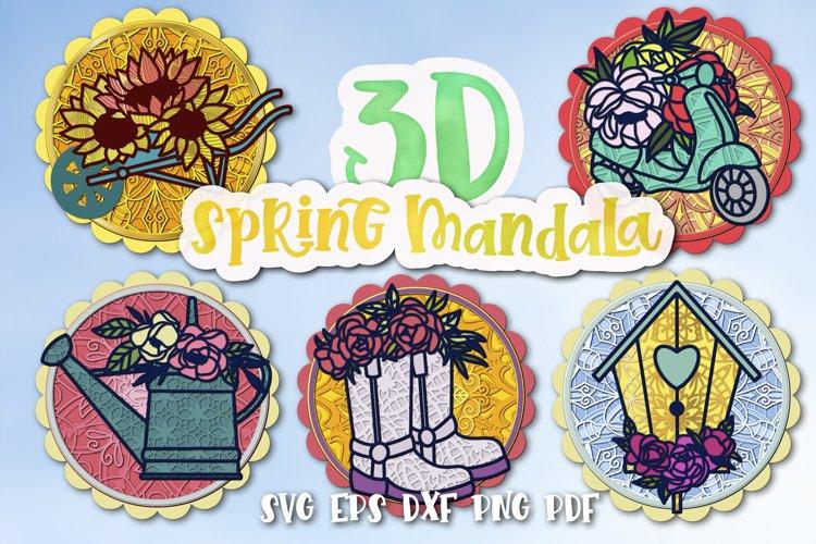 3D Spring Mandala bundle of 5 designs
