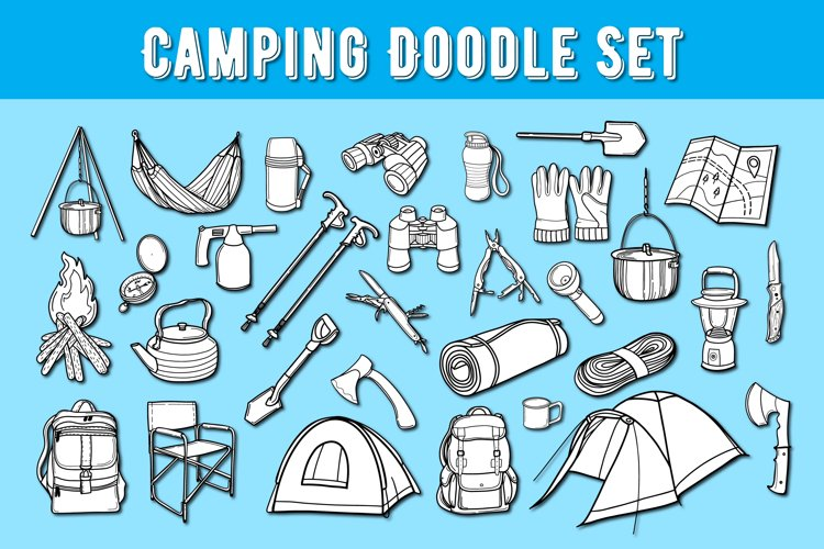 Camping Doodle set|Camping SVG bundle|Camp SVG |Camping icon example