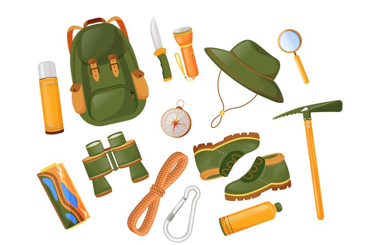 Mountaineering equipment flat color vector objects set example