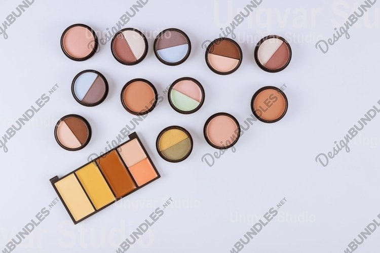 Set of makeup eyeshadow palette cosmetics for eyes isolated example image 1