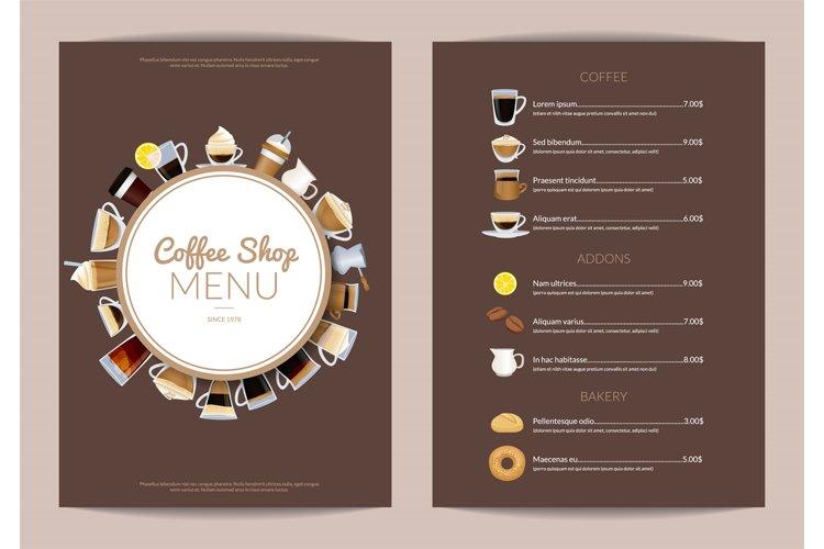 Vector coffee shop vertical menu template example image 1
