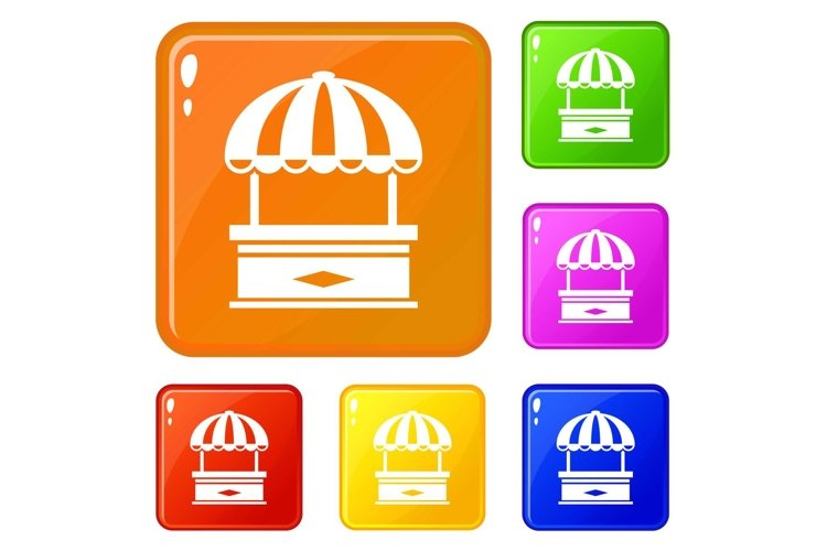 Table stall icons set vector color example image 1