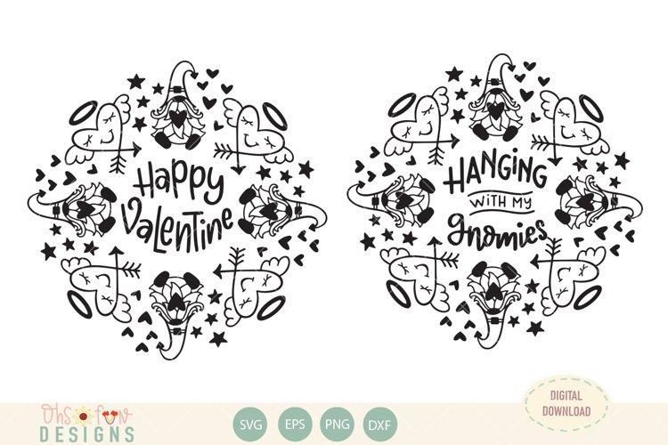 Valentine gnome mandala, bundle, SVG example image 1