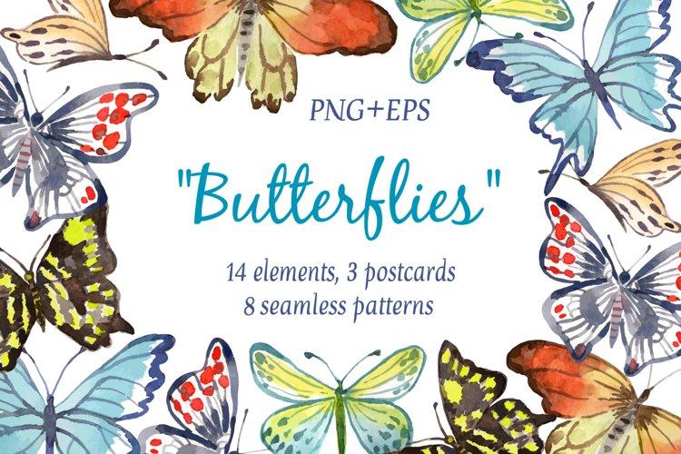 Butterflies. Watercolor set.