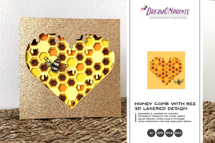 Bee with Honeycomb SVG | Bee 3D Layered SVG