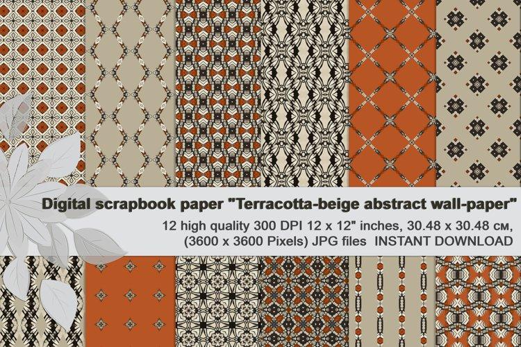Terracotta-beige, abstract Digital Paper