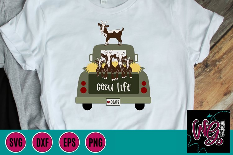 Truck With Goats Goat Life SVG, DXF, PNG, EPS