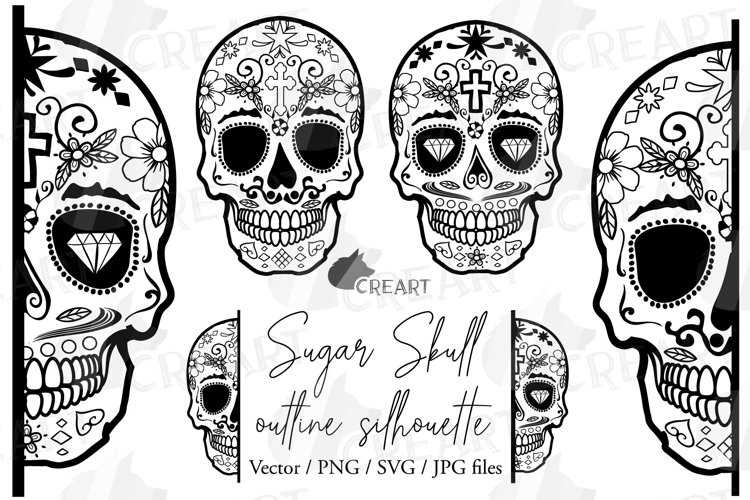 Sugar Skull Silhouette Cutting Clip Art. Mexican Skull Print (539582)  Illustrations Design Bundles