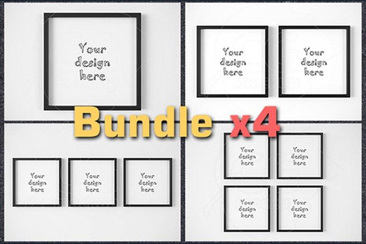 BUNDLEx4 square black frame mockup example image 1