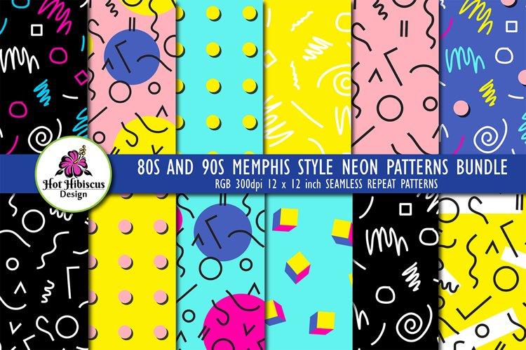 80s 90s Retro Neon Memphis Seamless Repeat Patterns