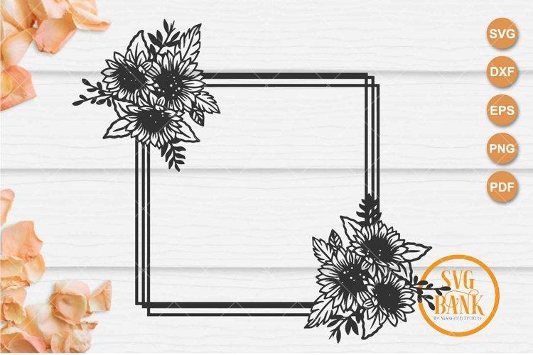 Square sunflower frame SVG, Wedding invitation frame example image 1