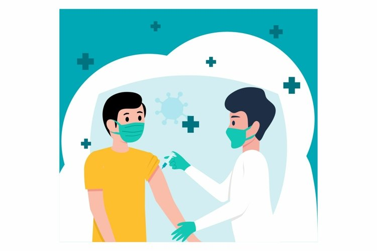 Doctor Inject Vaccine background flat design example image 1