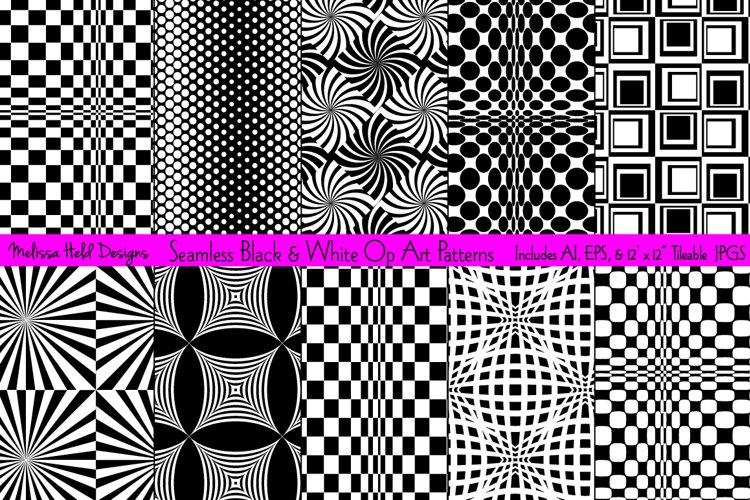 Seamless Black   White Op Art Patterns