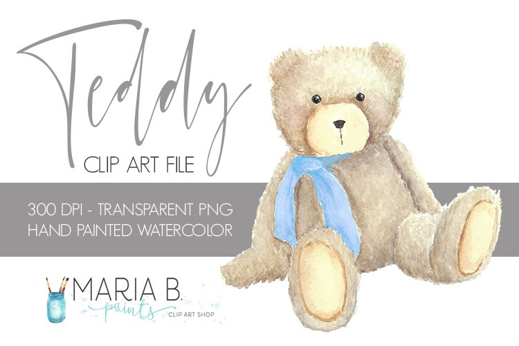 Teddy Bear with Blue bow Watercolor Clipart PNG