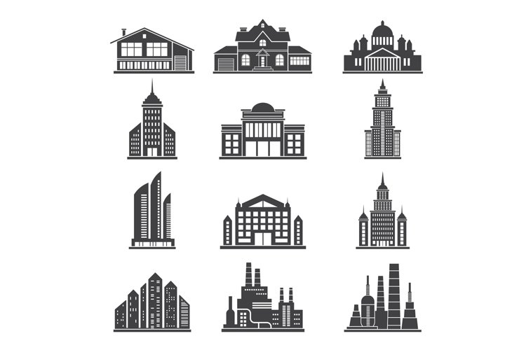 Monochrome silhouettes of different modern buildings and oth example image 1