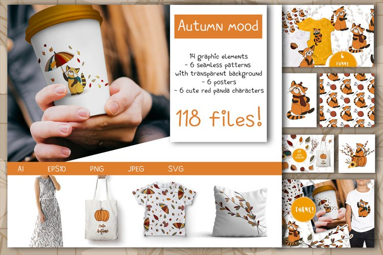 Autumn mood. clipart and patterns. example image 1
