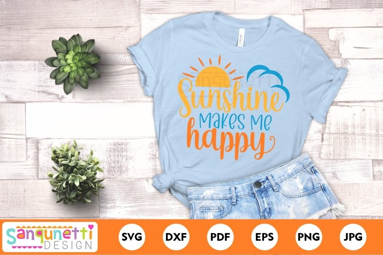 Sunshine makes me happy cheerful SVG for summer