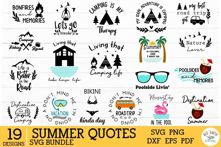 Camping, summer and beach quotes bundle in SVG,DXF,PNG,EPS,