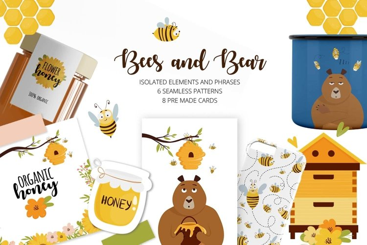 Vector clip art with bees and bear character
