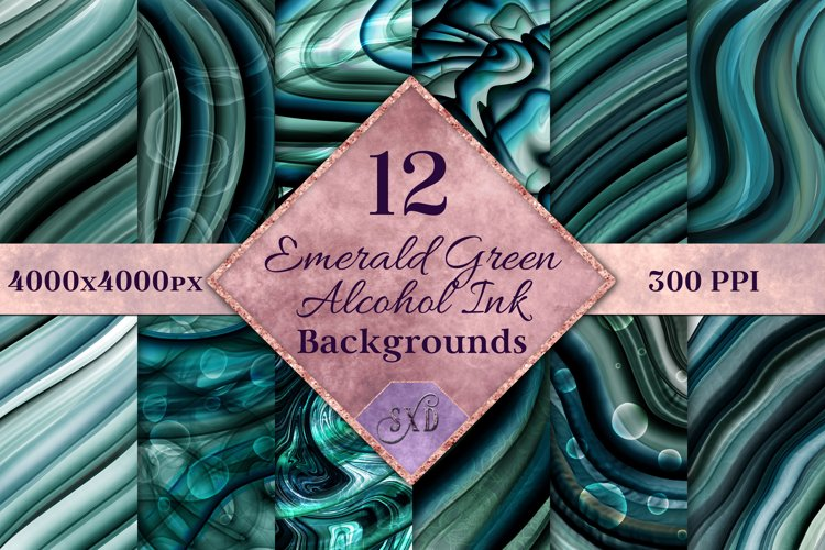 Emerald Green Alcohol Ink Backgrounds - 12 Image Set example image 1