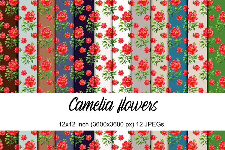 Camelia flowers digital papers example