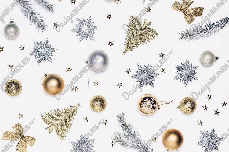 Christmas composition of golden and silver decor top view