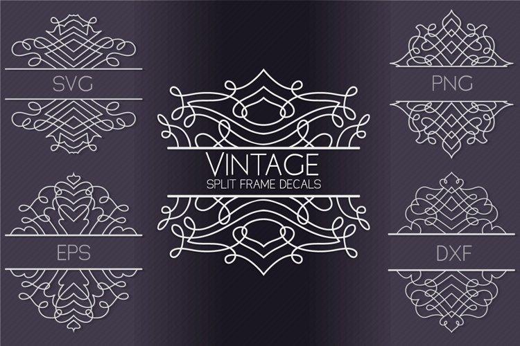 Vintage Split Frame Decal Bundle - 25 SVG cut files example image 1
