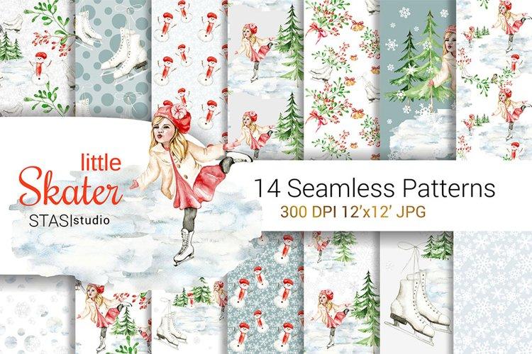 Little Skater Christmas Background Pattern example image 1
