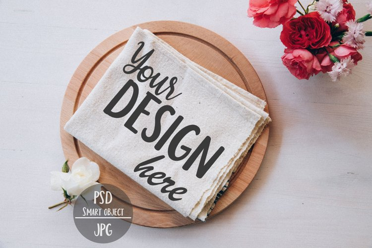 Kitchen Towel Flat Lay with Smart Object, Tea Napkin Display example image 1