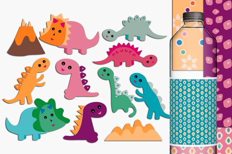 Baby dinosaur clip art and digital papers example image 1