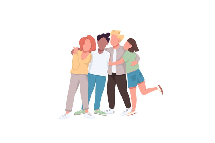 Community flat color vector faceless characters example image 1