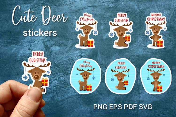 Cute Christmas Reindeer Stickers | Print and Cut | Gift tags example image 1