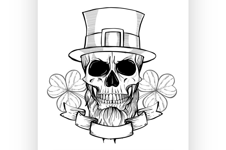 Hand drawn angry skull of leprechaun example image 1