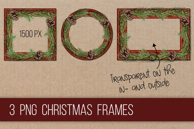 Wooden frames Christmas PNG clipart