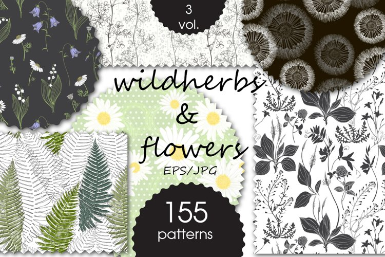 Wildherbs and flowers. Patterns. example image 1