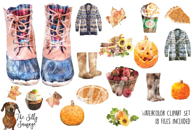 Fall Faves Watercolor Clipart example image 1