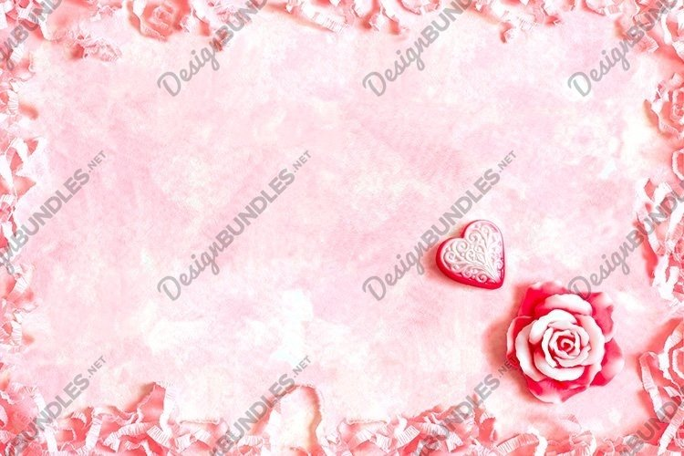 Romantic frame with roses and hearts. Valentine's Day mockup example image 1