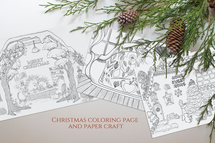 Set of 3 winter and christmas coloring and folding pages example image 1