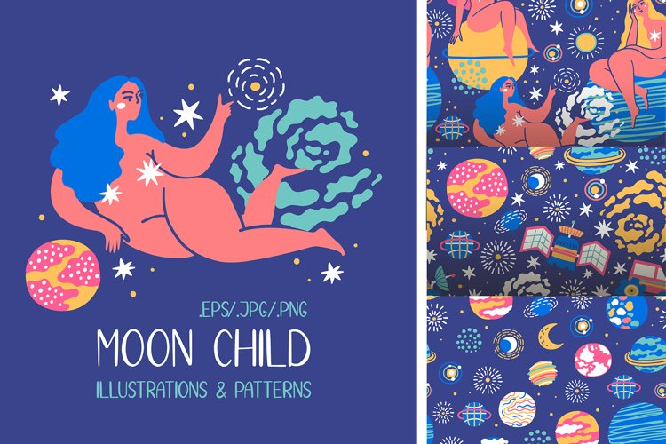 MOON CHILD illustrations & patterns example image 1